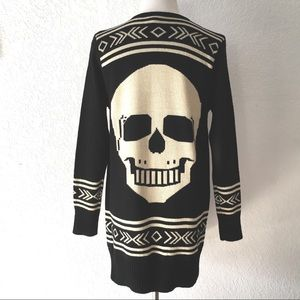 Hot & Delicious Skull Open Front Cardigan Sweater